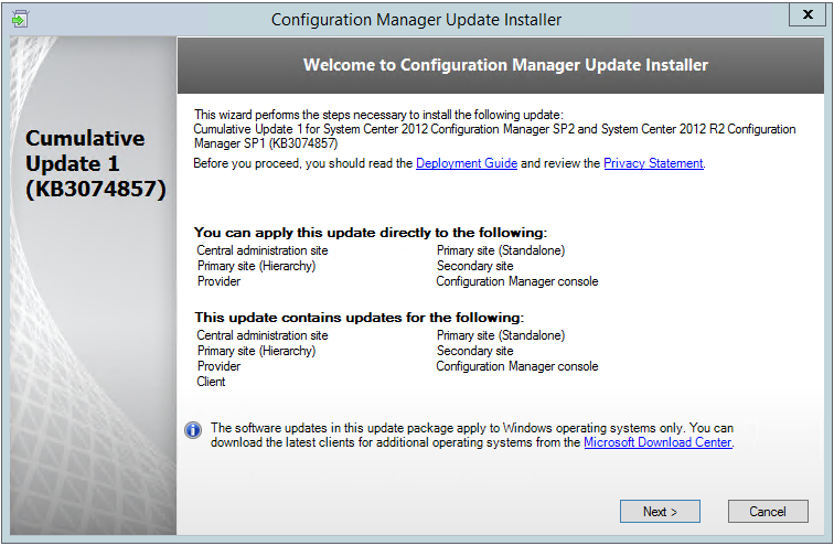CU1 for ConfigMgr 2012 SP2 / R2 SP1 is here | Fresh Blog